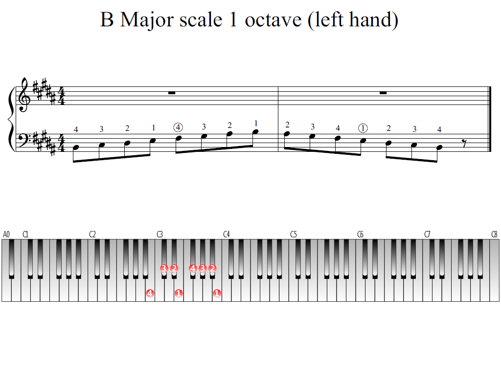 Figure 1. Whole view of the B Major scale 1 octave (left hand)