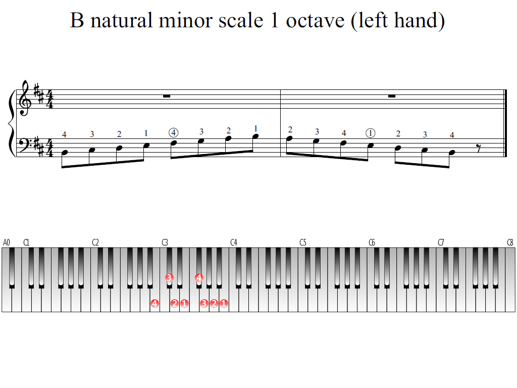 Figure 1. Whole view of the B natural minor scale 1 octave (left hand)