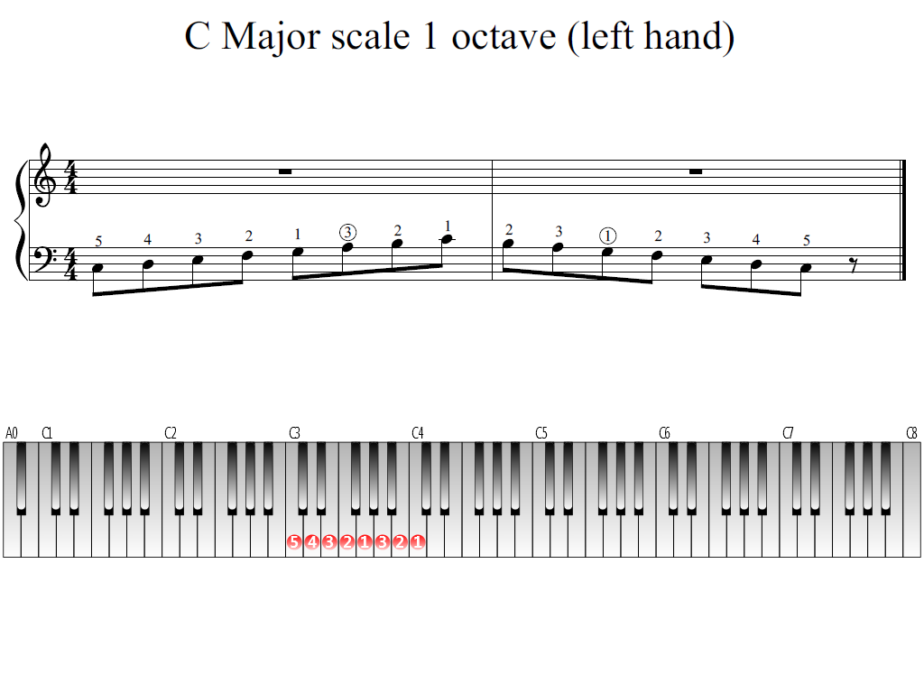 Figure 1. The Whole view of the C Major scale 1 octave (left hand).