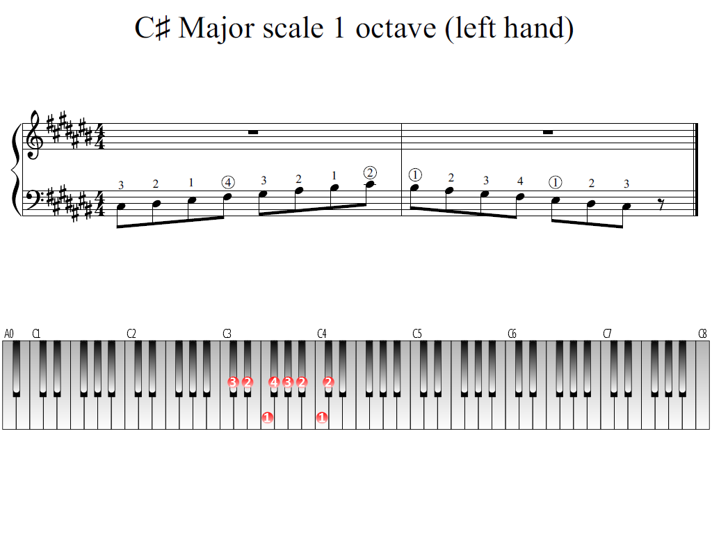 Figure 1. Whole view of the C-sharp Major scale 1 octave (left hand)