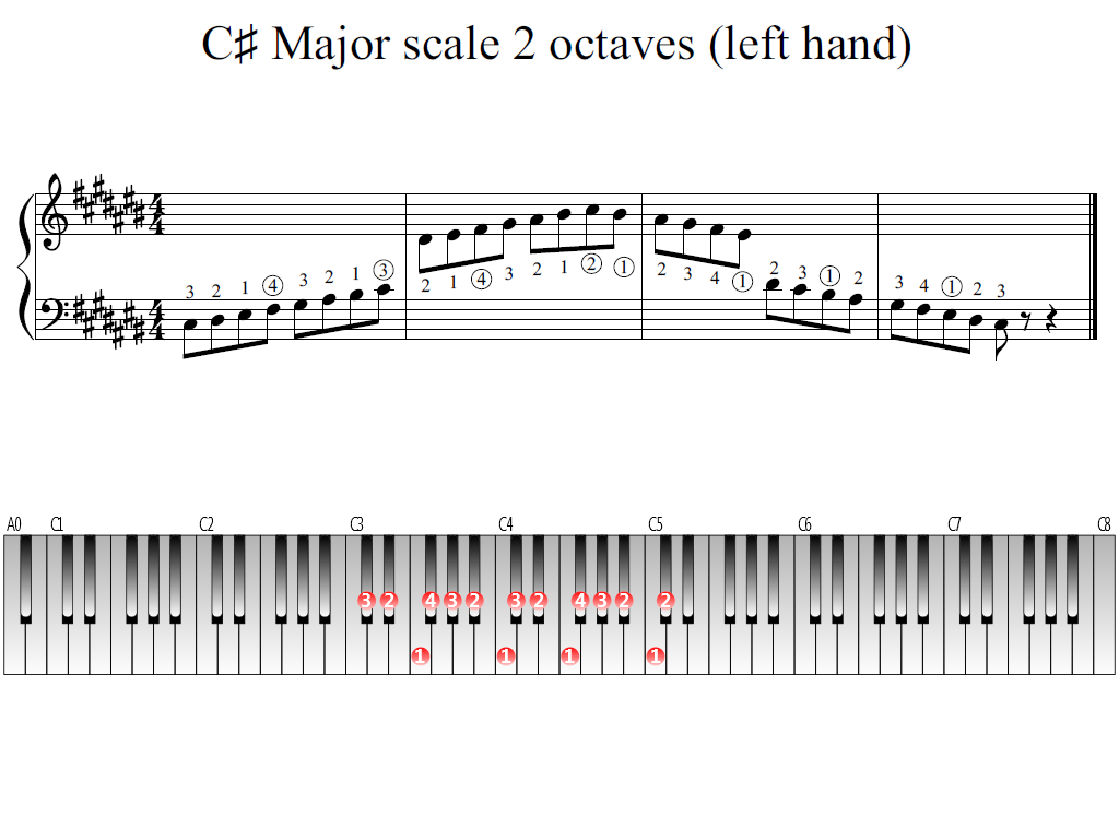 Figure 1. Whole view of the C-sharp Major scale 2 octaves (left hand)