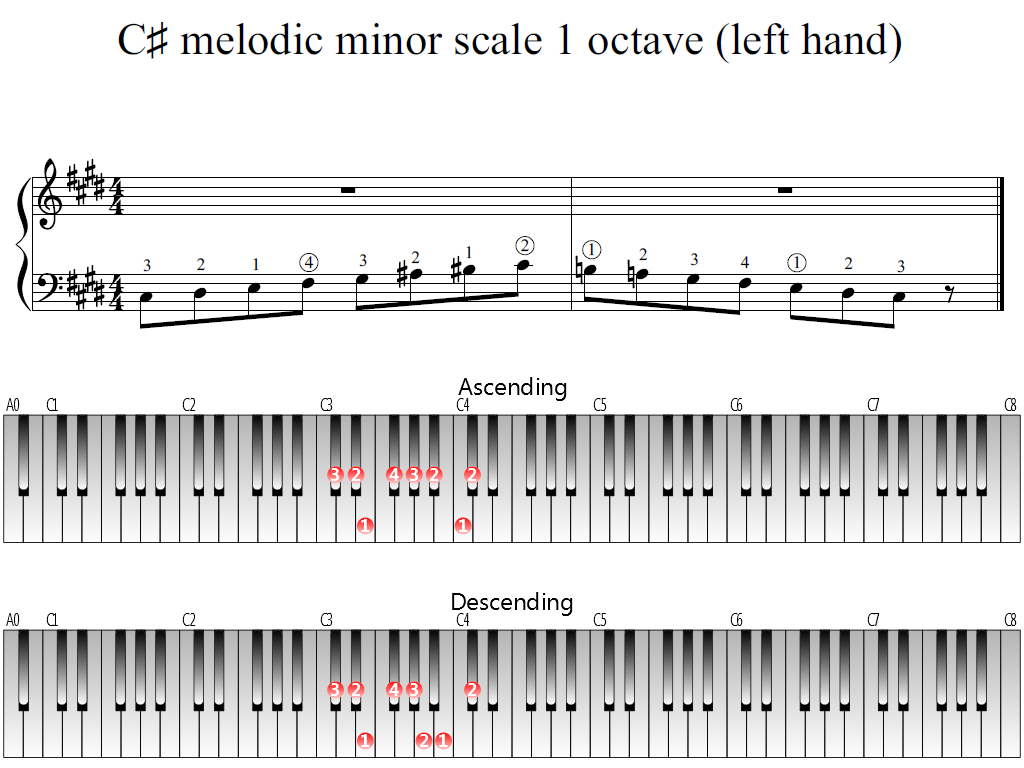 Figure 1. Whole view of the C-sharp melodic minor scale 1 octave (left hand)