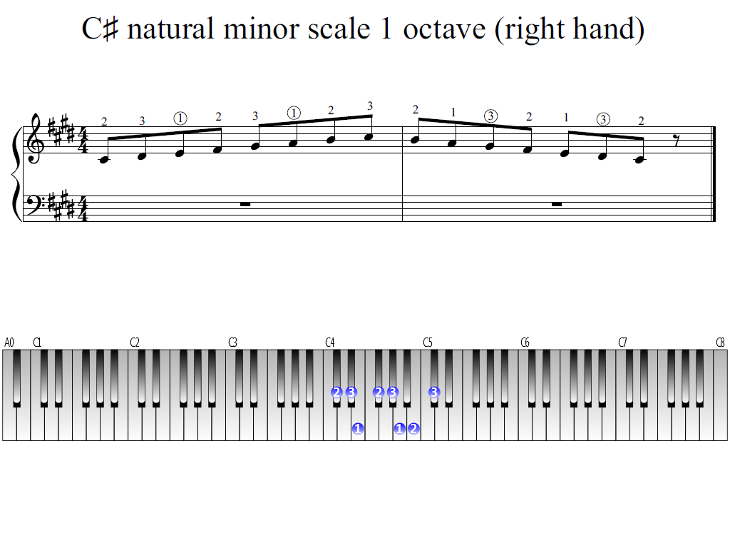 Figure 1. Whole view of the C-sharp natural minor scale 1 octave (right hand)