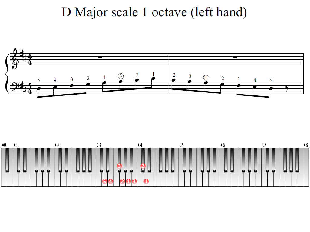Figure 1. Whole view of the D Major scale 1 octave (left hand)