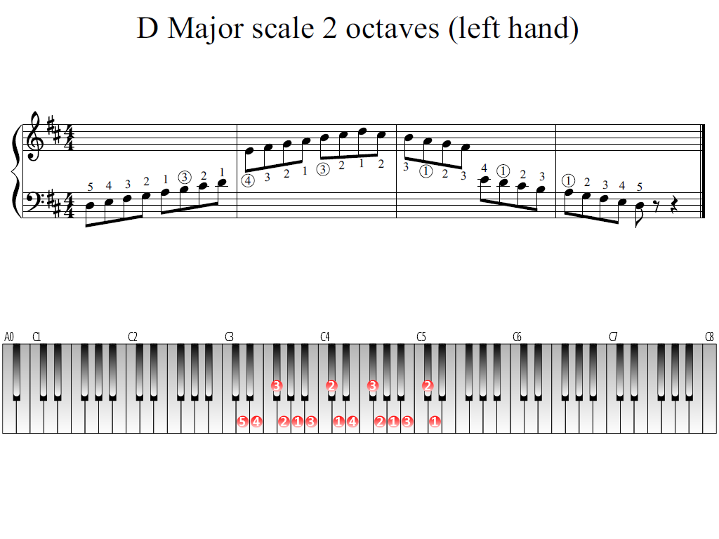 Figure 1. Whole view of the D Major scale 2 octaves (left hand)