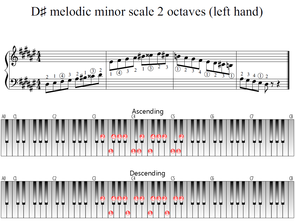 Figure 1. Whole view of the D-sharp melodic minor scale 2 octaves (left hand)