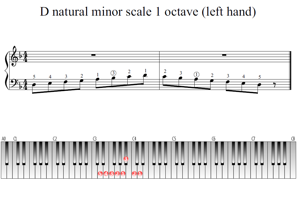 Figure 1. Whole view of the D natural minor scale 1 octave (left hand)