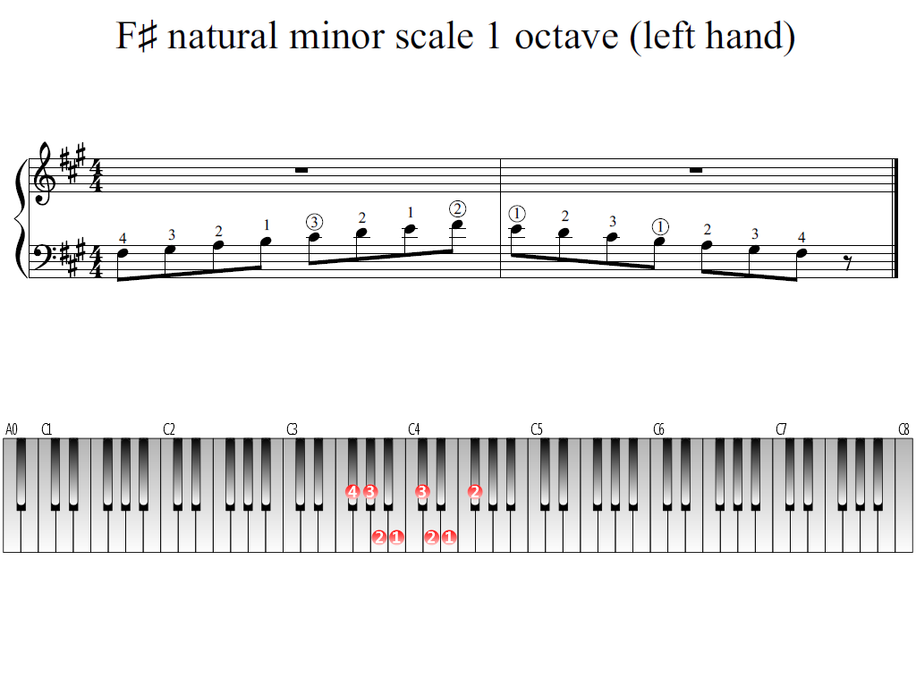 Figure 1. Whole view of the F-sharp natural minor scale 1 octave (left hand)