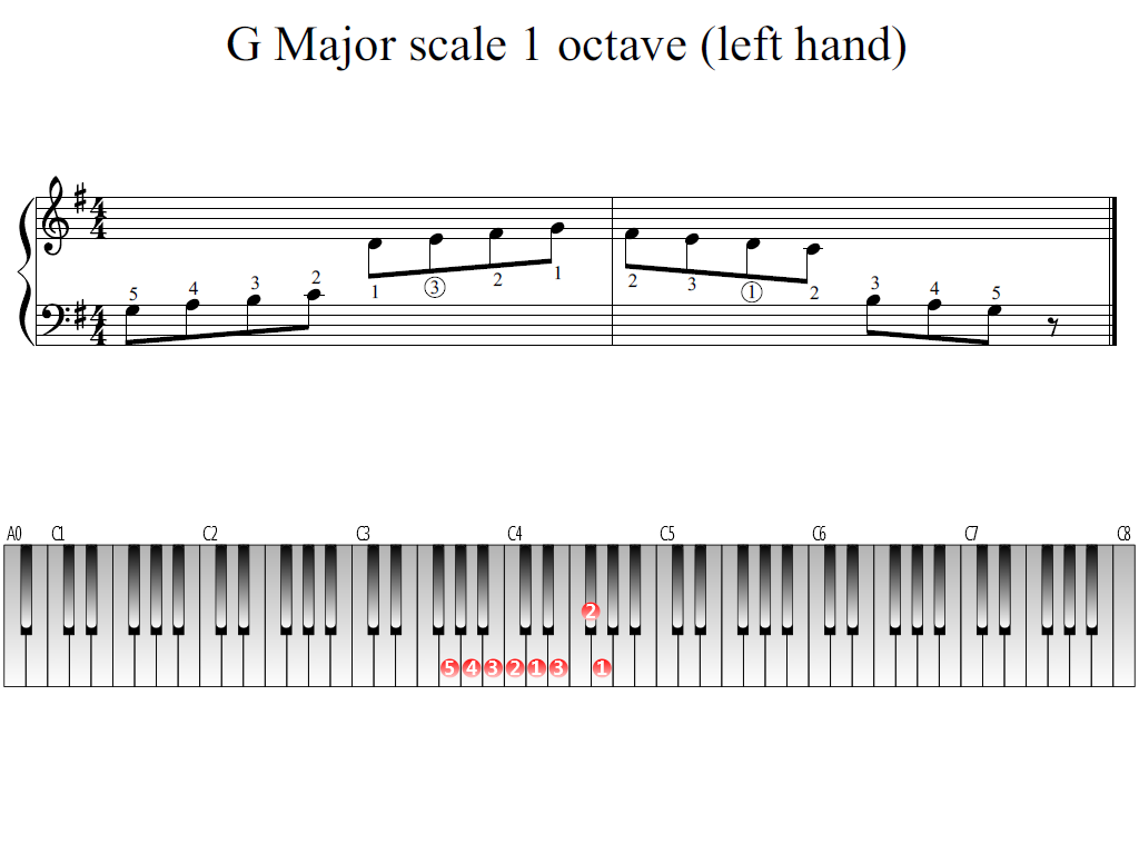 Figure 1. The Whole view of the G Major scale 1 octave (left hand)
