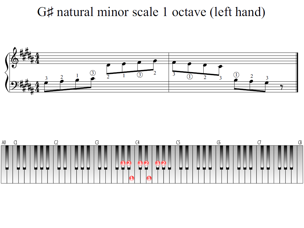 Figure 1. Whole view of the G-sharp natural minor scale 1 octave (left hand)