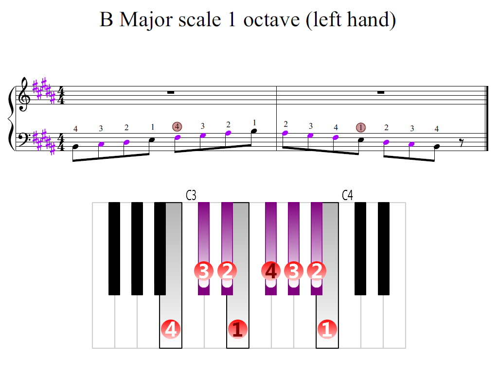 Figure 2. Zoomed keyboard and highlighted point of turning finger (B Major scale 1 octave (left hand))