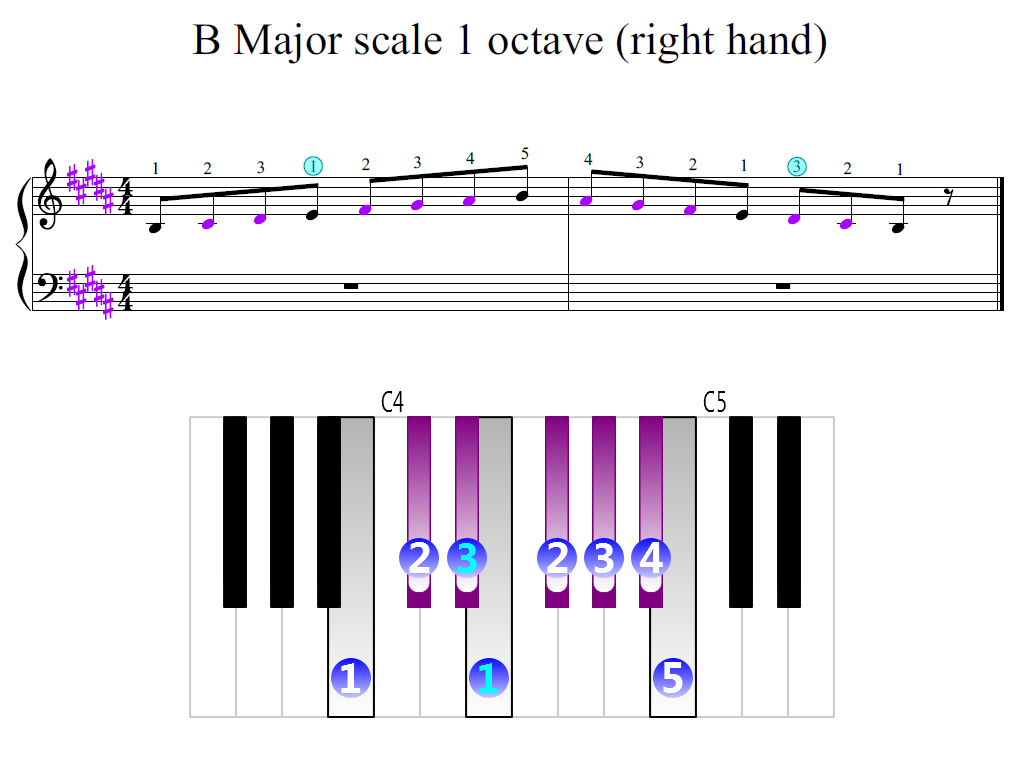 Figure 2. Zoomed keyboard and highlighted point of turning finger (B Major scale 1 octave (right hand))