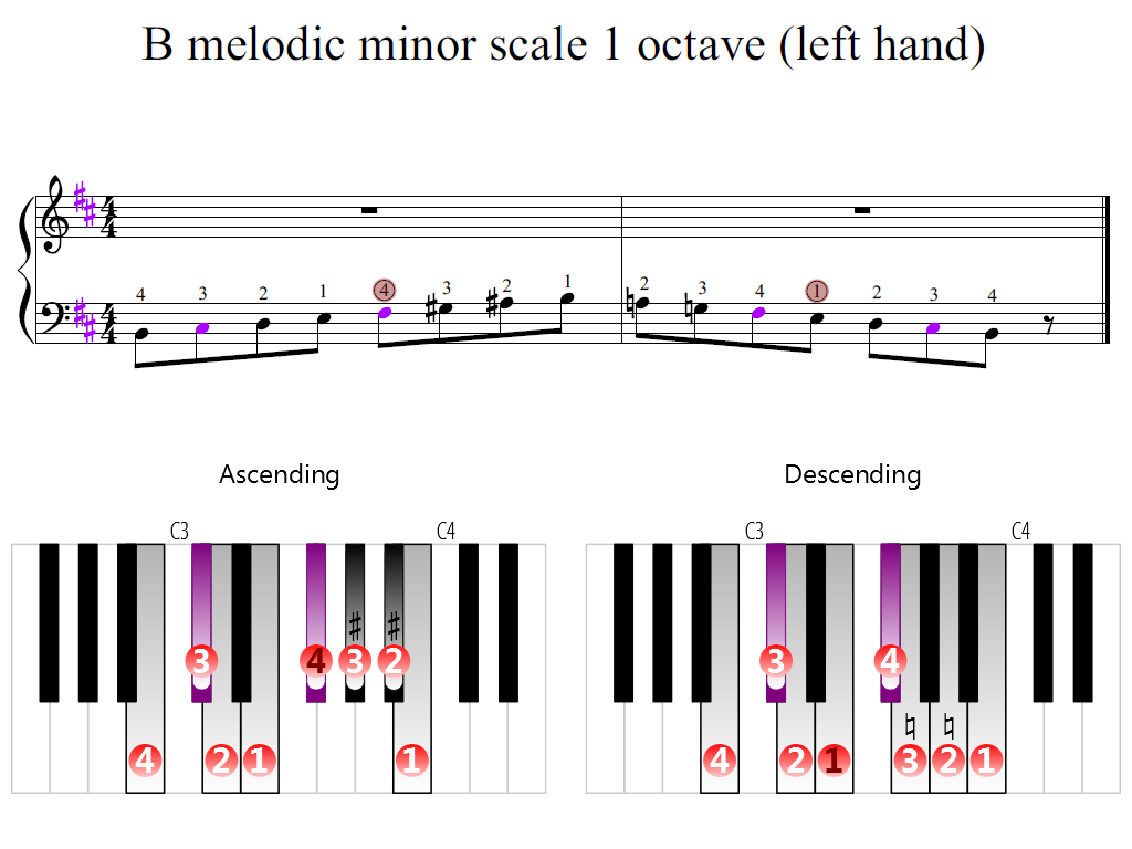 Figure 2. Zoomed keyboard and highlighted point of turning finger (B melodic minor scale 1 octave (left hand))
