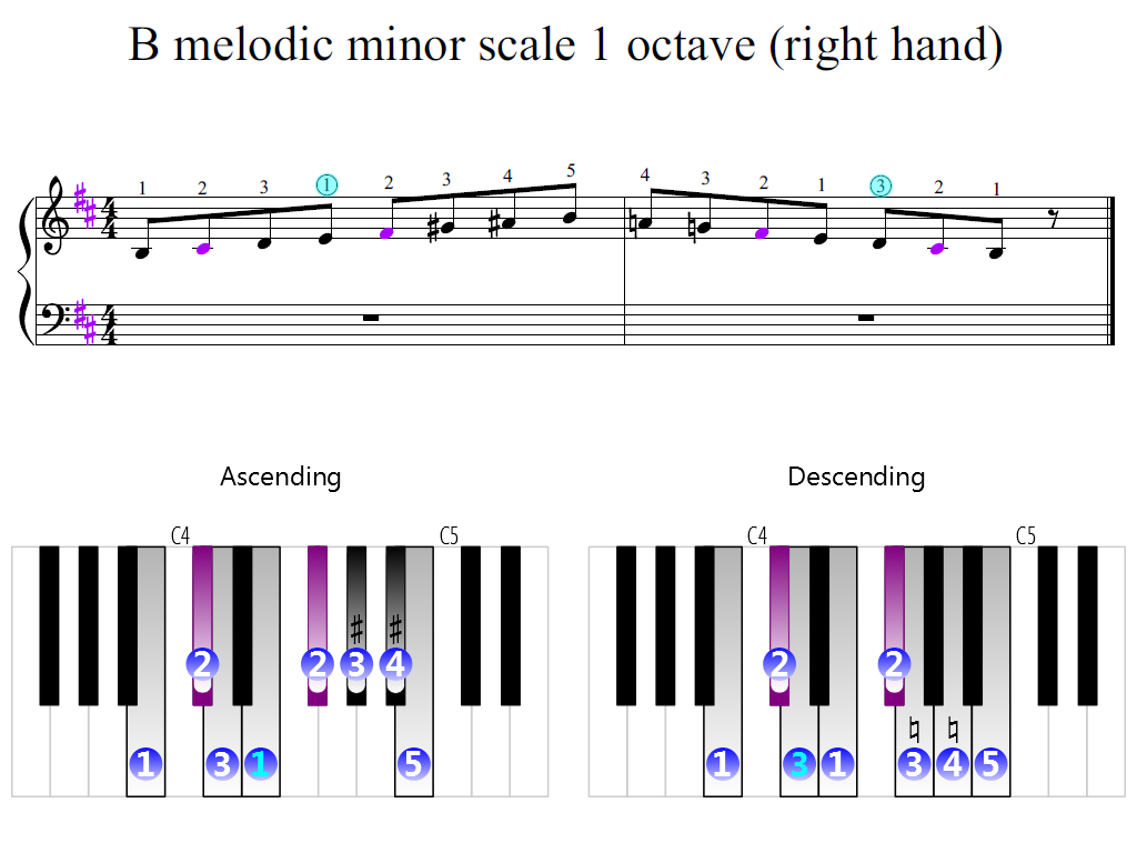 Figure 2. Zoomed keyboard and highlighted point of turning finger (B melodic minor scale 1 octave (right hand))