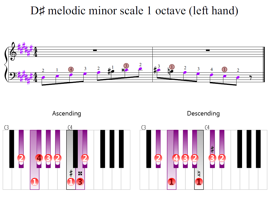 Figure 2. Zoomed keyboard and highlighted point of turning finger (D-sharp melodic minor scale 1 octave (left hand))