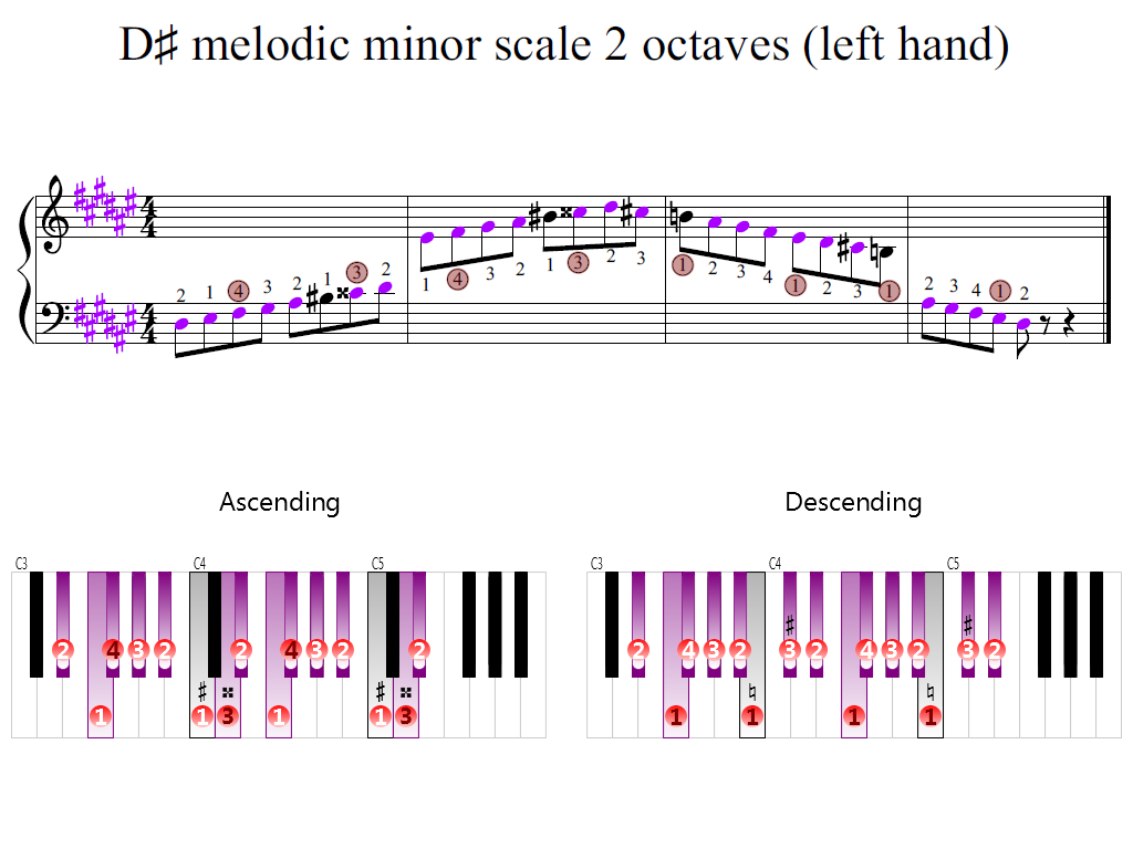 Figure 2. Zoomed keyboard and highlighted point of turning finger (D-sharp melodic minor scale 2 octaves (left hand))