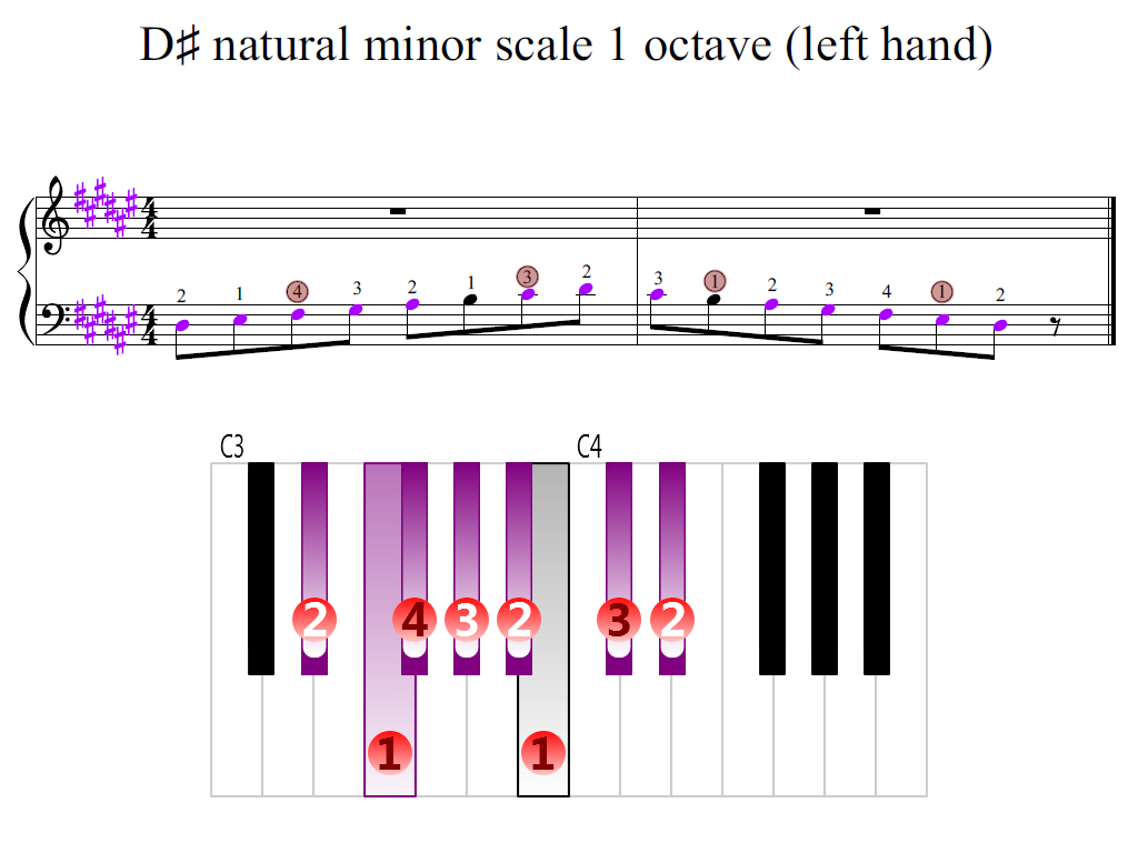 Figure 2. Zoomed keyboard and highlighted point of turning finger (D-sharp natural minor scale 1 octave (left hand))