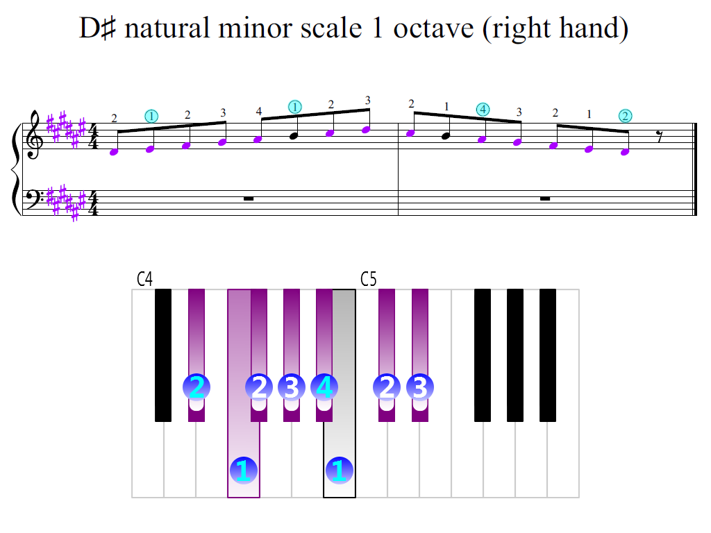 Figure 2. Zoomed keyboard and highlighted point of turning finger (D-sharp natural minor scale 1 octave (right hand))