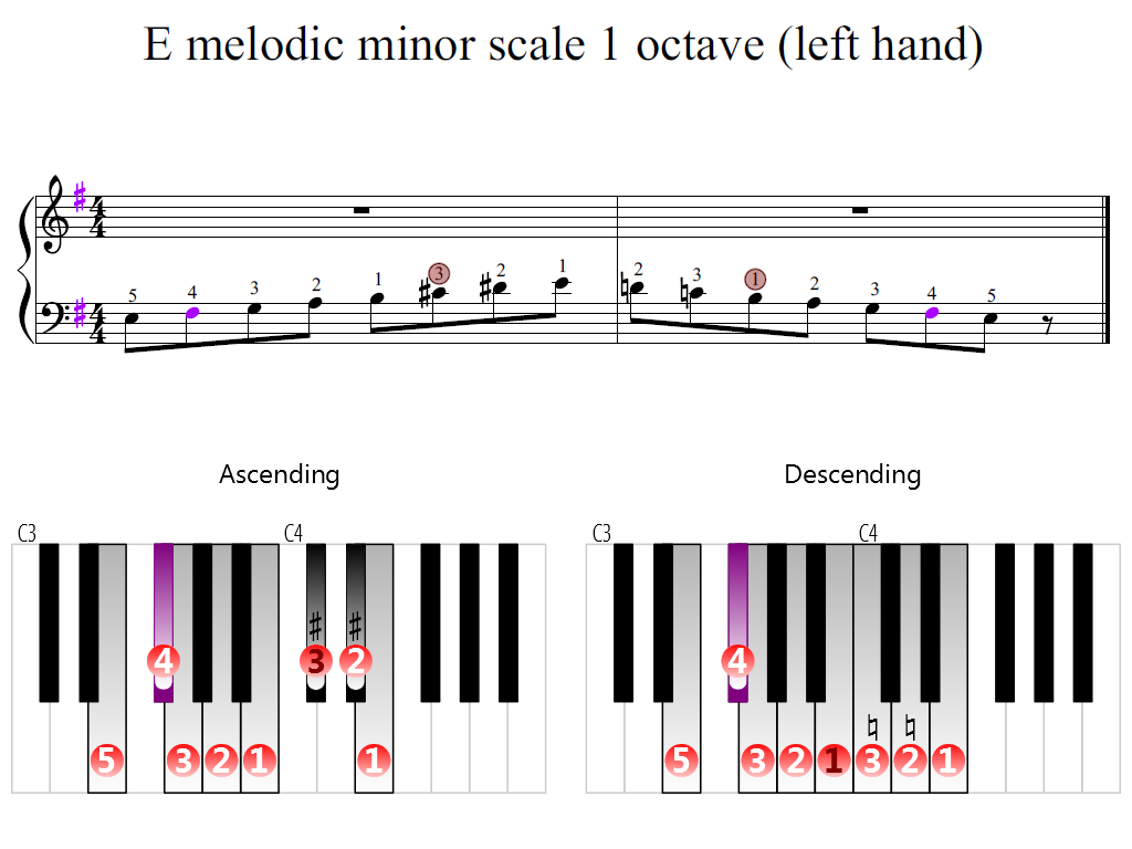 Figure 2. Zoomed keyboard and highlighted point of turning finger (E melodic minor scale 1 octave (left hand))