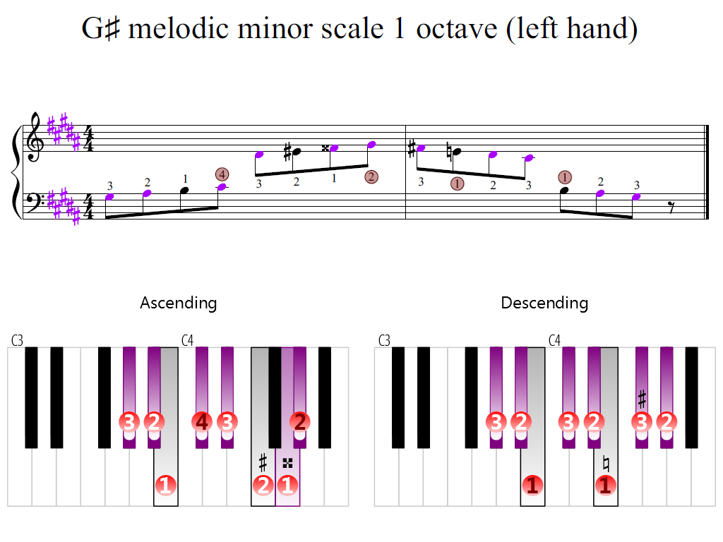 Figure 2. Zoomed keyboard and highlighted point of turning finger (G-sharp melodic minor scale 1 octave (left hand))
