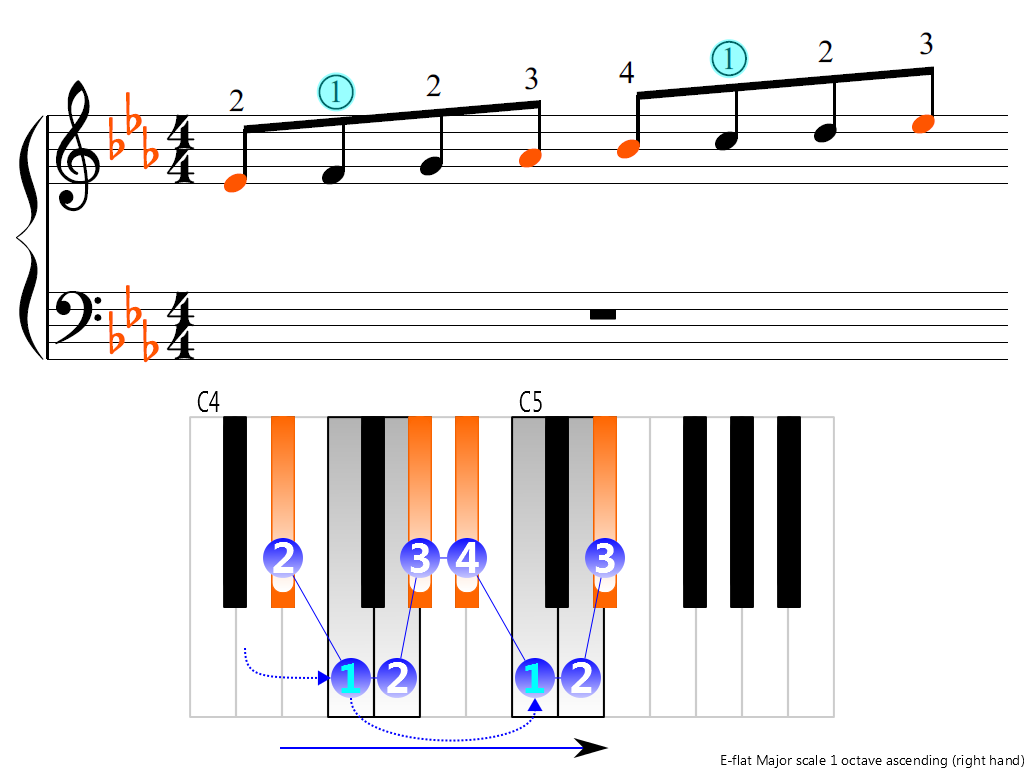 Figure 3. Ascending of the E-flat Major scale 1 octave (right hand)