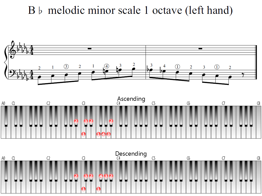 Figure 1. Whole view of the B-flat melodic minor scale 1 octave (left hand)