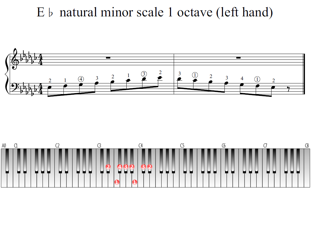 Figure 1. Whole view of the E-flat natural minor scale 1 octave (left hand)