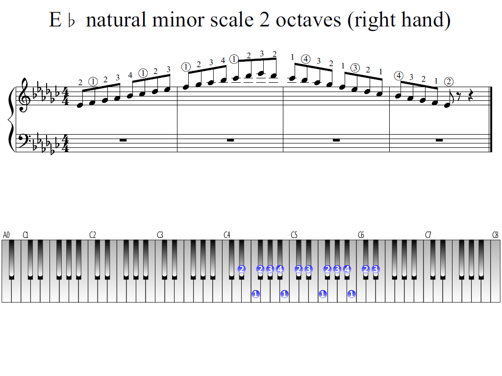 Figure 1. Whole view of the E-flat natural minor scale 2 octaves (right hand)