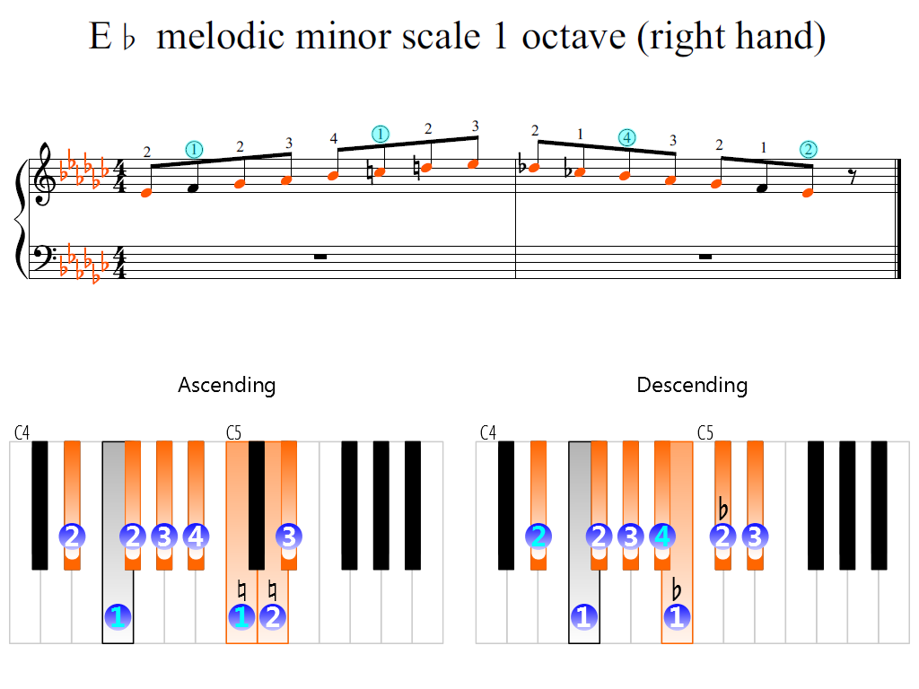 Figure 2. Zoomed keyboard and highlighted point of turning finger (E-flat melodic minor scale 1 octave (right hand))