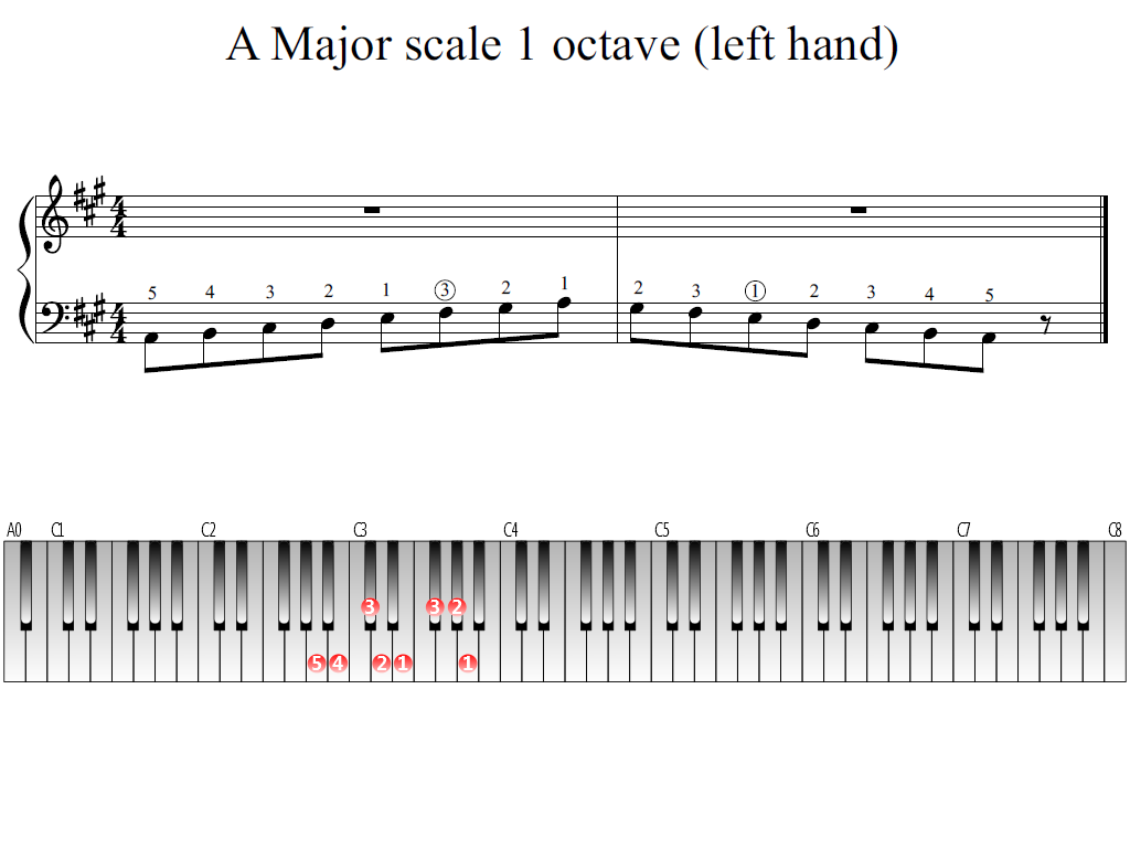 Figure 1. Whole view of the A Major scale 1 octave (left hand)