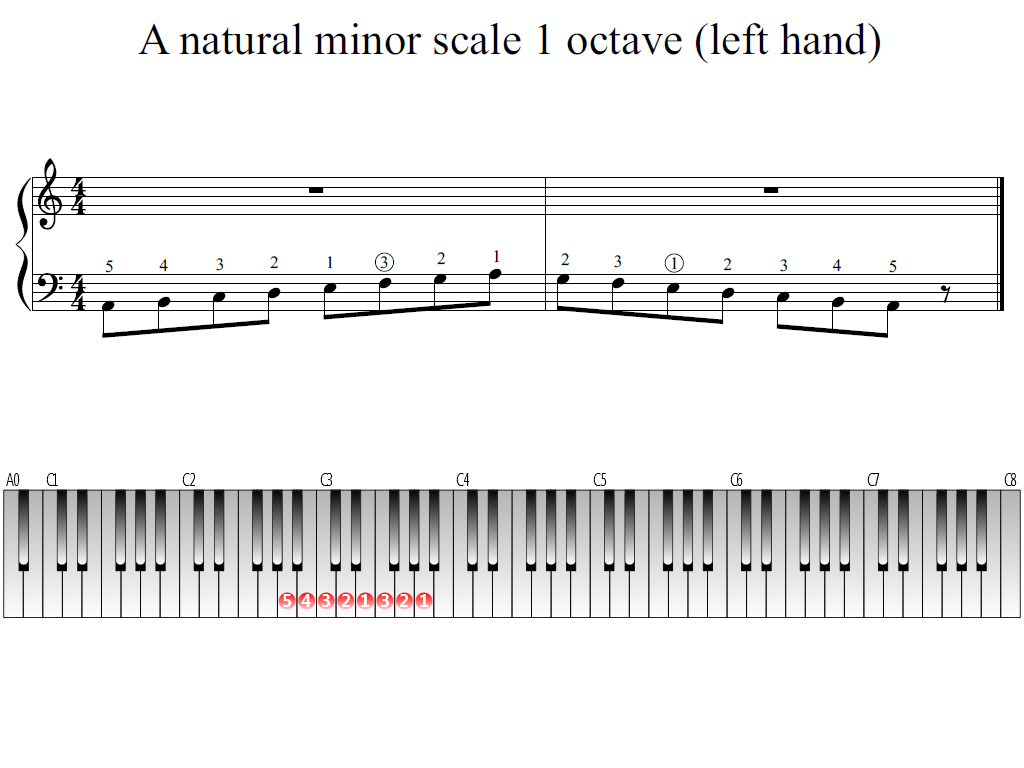 Figure 1. The Whole view of the A natural minor scale 1 octave (left hand)