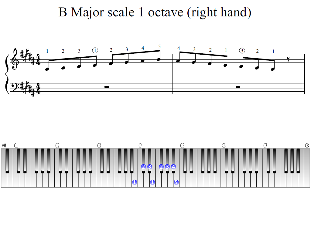 Figure 1. Whole view of the B Major scale 1 octave (right hand)
