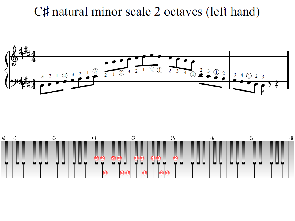 Figure 1. Whole view of the C-sharp natural minor scale 2 octaves (left hand)