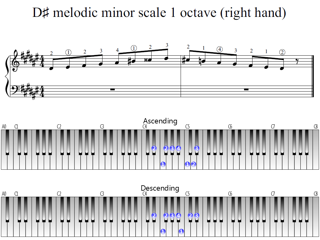 Figure 1. Whole view of the D-sharp melodic minor scale 1 octave (right hand)