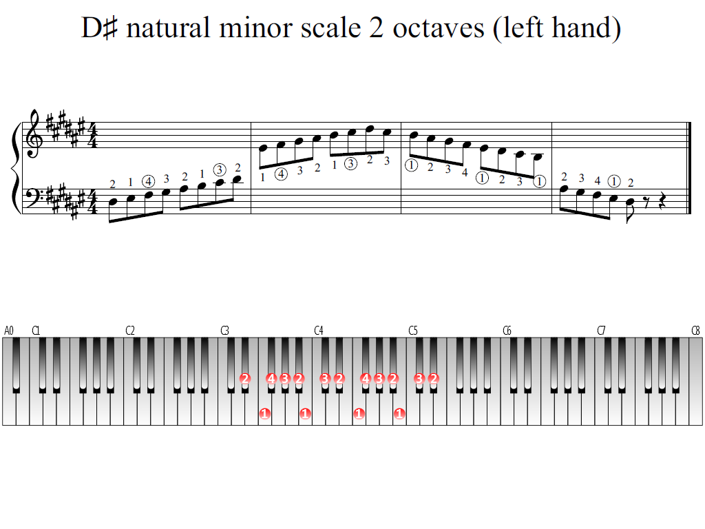 Figure 1. Whole view of the D-sharp natural minor scale 2 octaves (left hand)