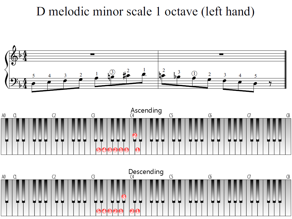 Figure 1. Whole view of the D melodic minor scale 1 octave (left hand)