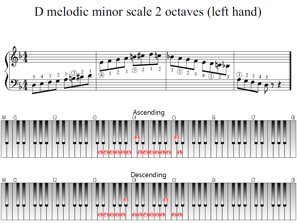 Figure 1. Whole view of the D melodic minor scale 2 octaves (left hand)