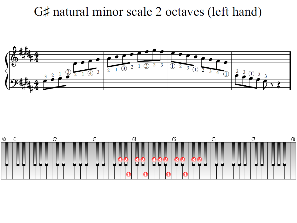 Figure 1. Whole view of the G-sharp natural minor scale 2 octaves (left hand)