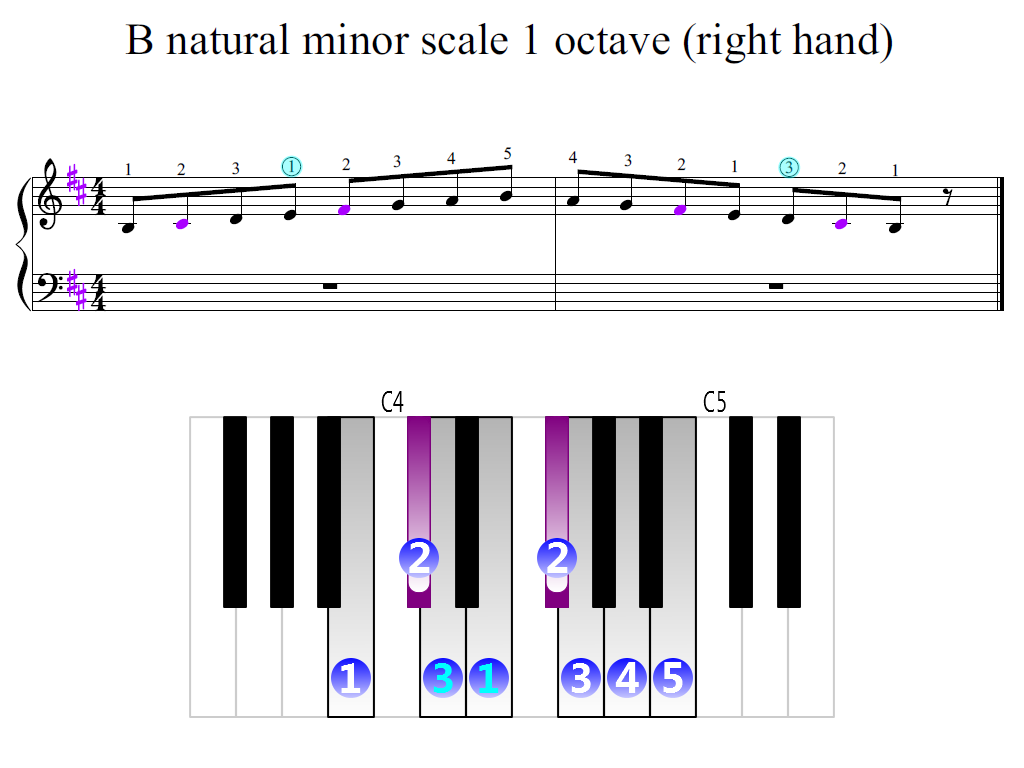 Figure 2. Zoomed keyboard and highlighted point of turning finger (B natural minor scale 1 octave (right hand))