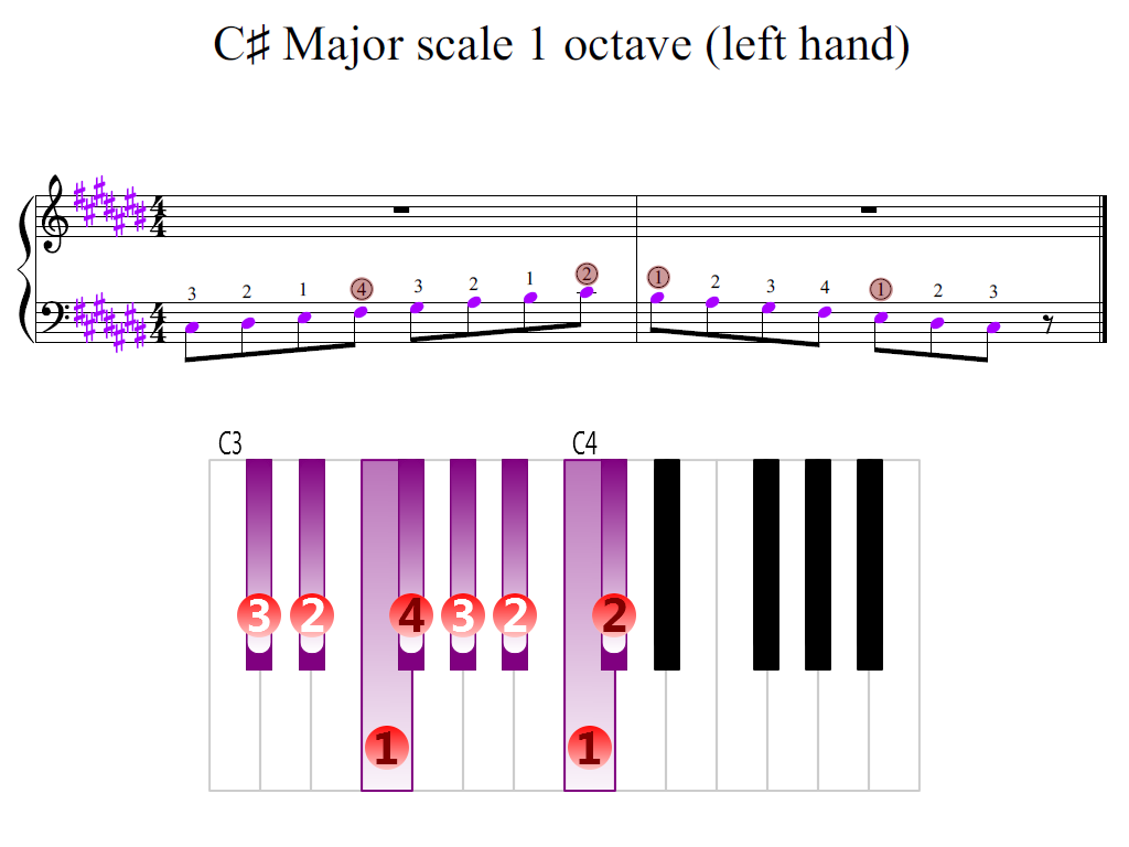 Figure 2. Zoomed keyboard and highlighted point of turning finger (C-sharp Major scale 1 octave (left hand))