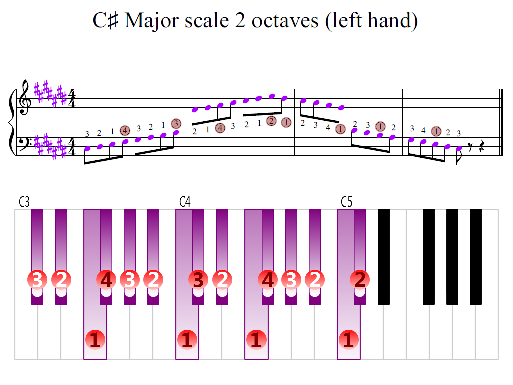 Figure 2. Zoomed keyboard and highlighted point of turning finger (C-sharp Major scale 2 octaves (left hand))