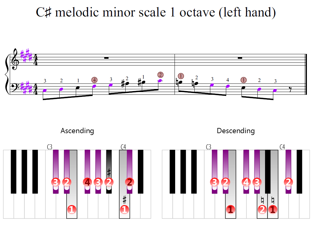 Figure 2. Zoomed keyboard and highlighted point of turning finger (C-sharp melodic minor scale 1 octave (left hand))