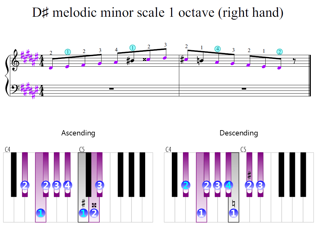 Figure 2. Zoomed keyboard and highlighted point of turning finger (D-sharp melodic minor scale 1 octave (right hand))