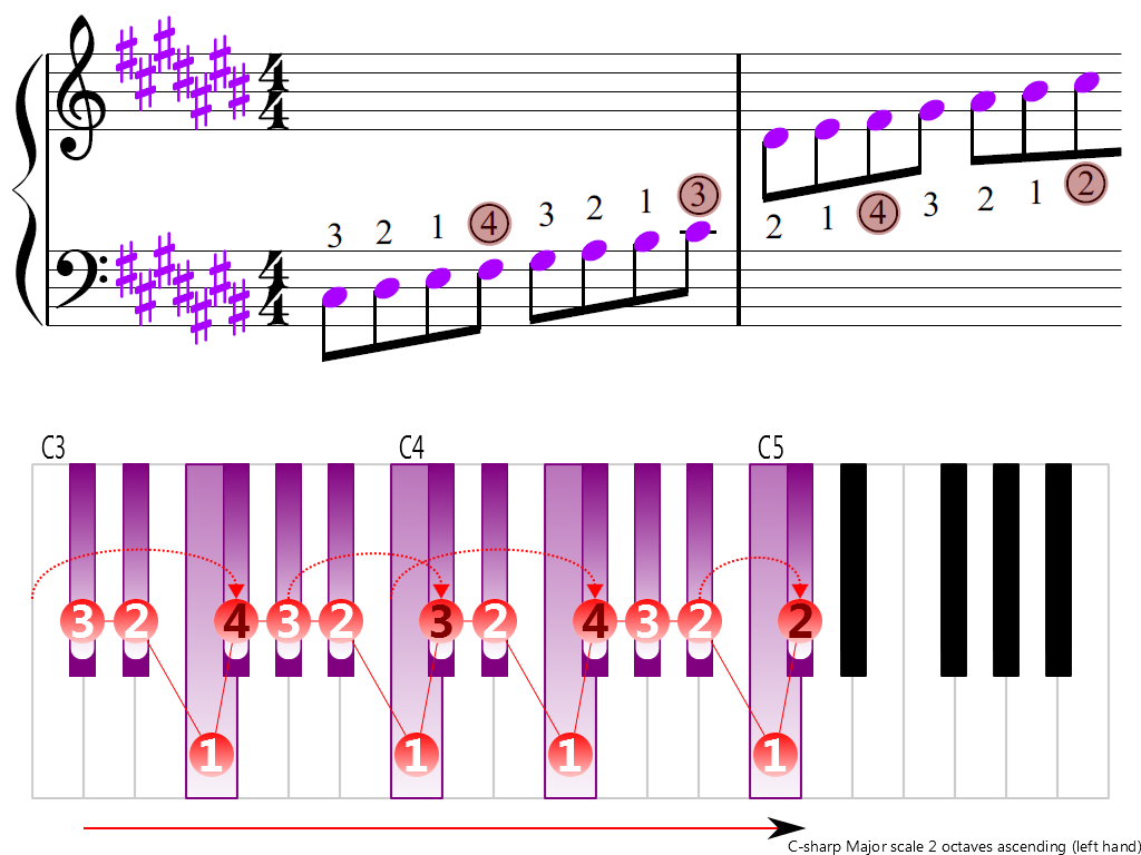 Figure 3. Ascending of the C-sharp Major scale 2 octaves (left hand)