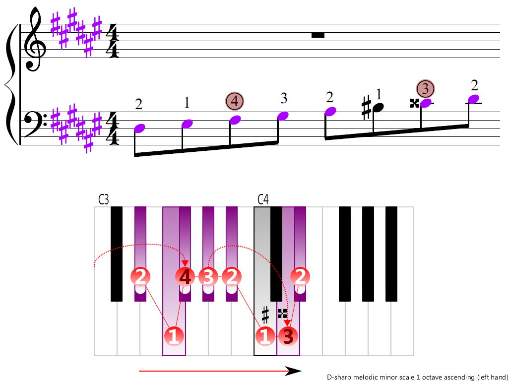 Figure 3. Ascending of the D-sharp melodic minor scale 1 octave (left hand)