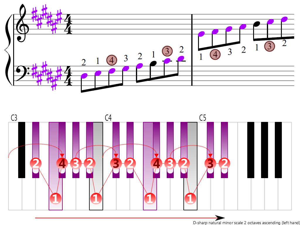 Figure 3. Ascending of the D-sharp natural minor scale 2 octaves (left hand)