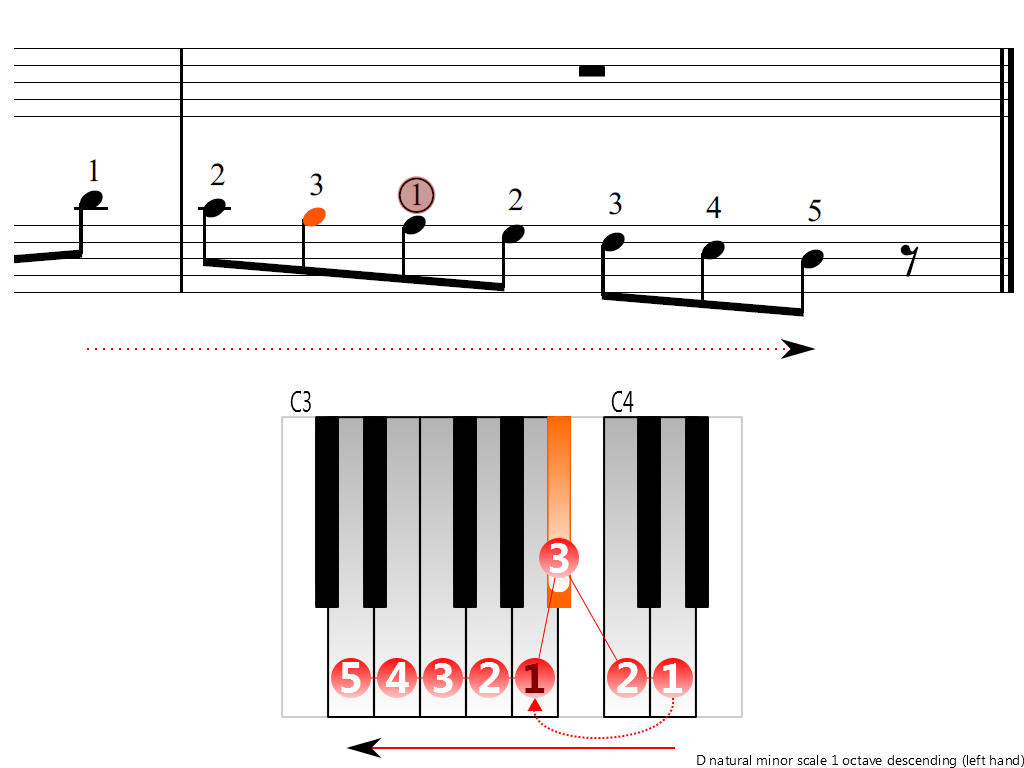 Figure 4. Descending of the D natural minor scale 1 octave (left hand)