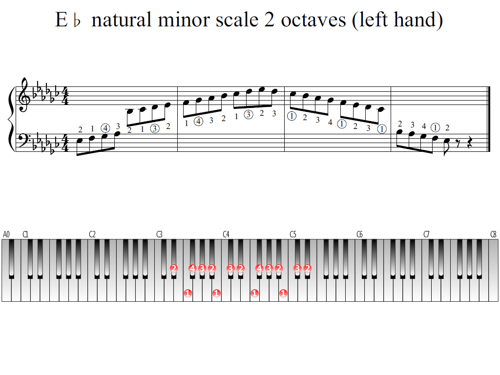 Figure 1. Whole view of the E-flat natural minor scale 2 octaves (left hand)
