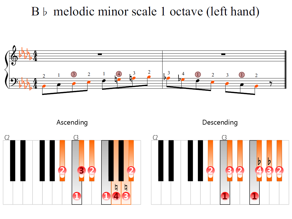 Figure 2. Zoomed keyboard and highlighted point of turning finger (B-flat melodic minor scale 1 octave (left hand))
