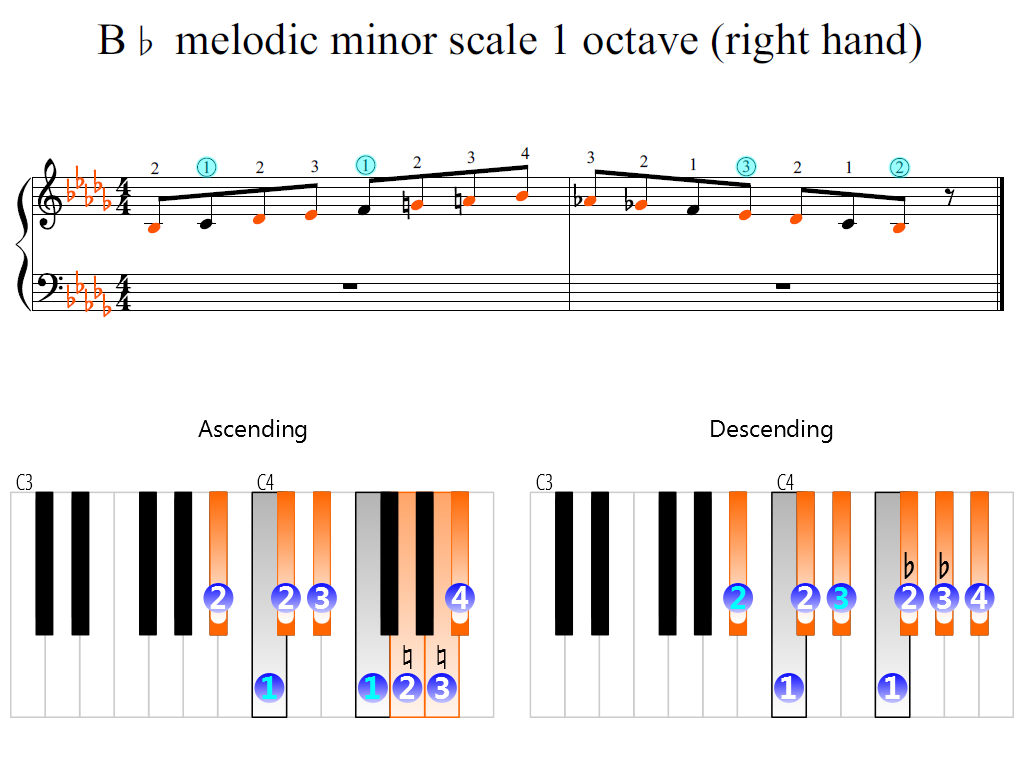 Figure 2. Zoomed keyboard and highlighted point of turning finger (B-flat melodic minor scale 1 octave (right hand))